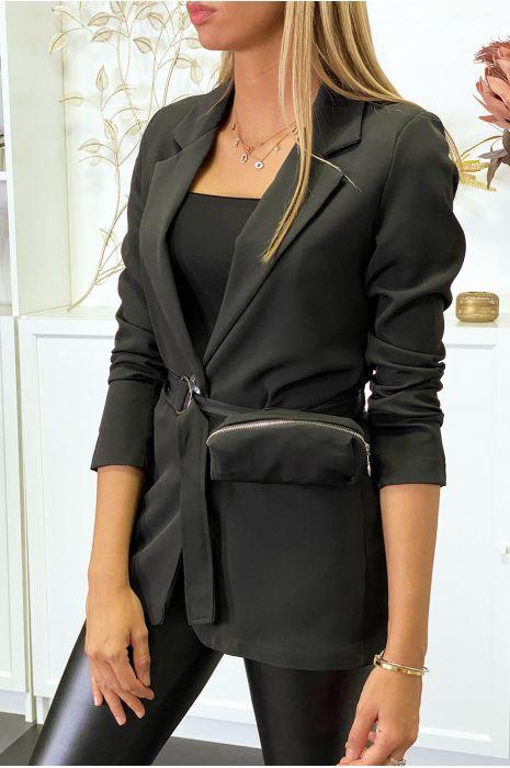 Blazer noir avec ceinture et pochette