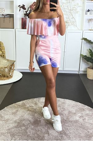 Tie and Dye playsuit with predominantly pink and bardot collar