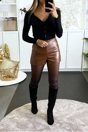 Camel faux leather shorts with lacing on the sides