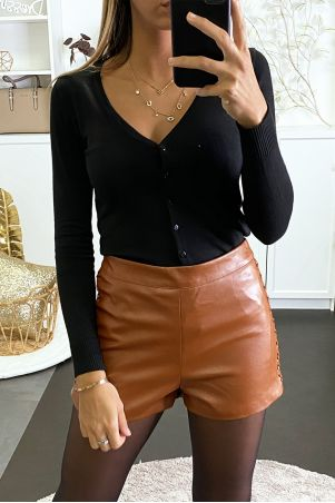 Cognac faux leather shorts with lacing on the sides
