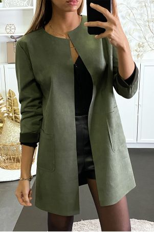 Khaki suede jacket with pocket and without closure