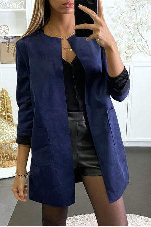 Beautiful camel suede jacket with pocket and lapel collar