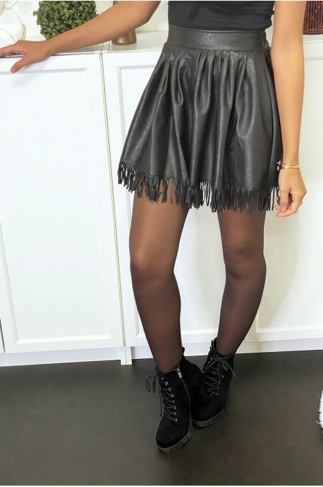 Black faux pleated front skirt with pockets