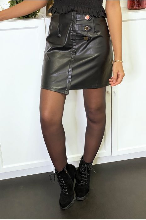 Black faux leather skirt with gold buttons