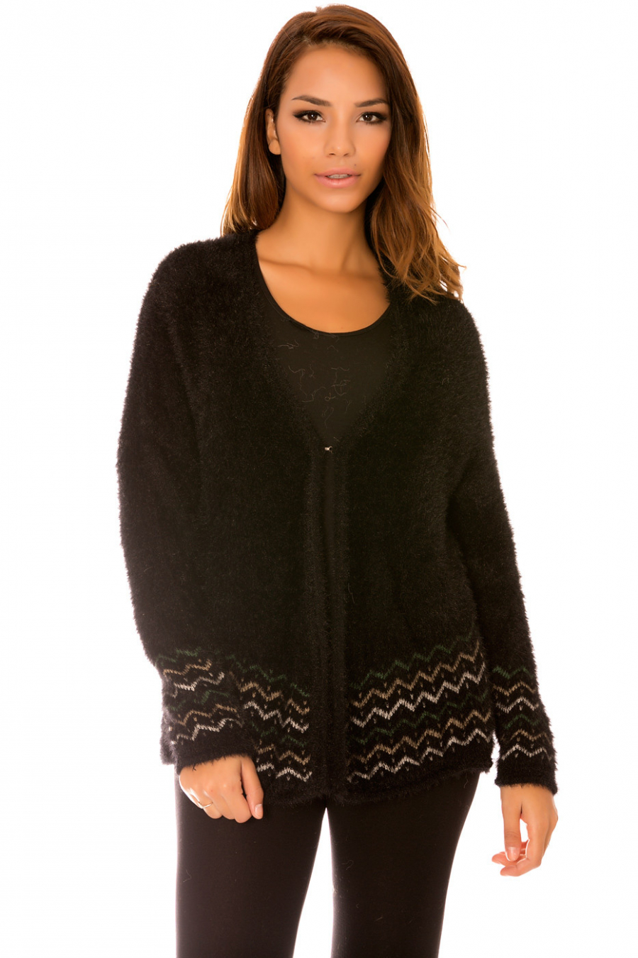 Fluffy black vest with hooks and patterns on the bottom. F9962