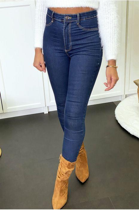 Marineblauwe slimfit jeansbroek met achterzakken