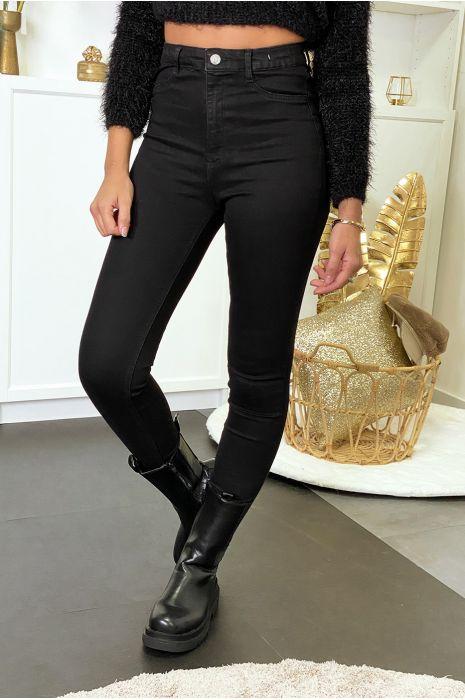 Pantalon jeans slim noir avec poches arrières
