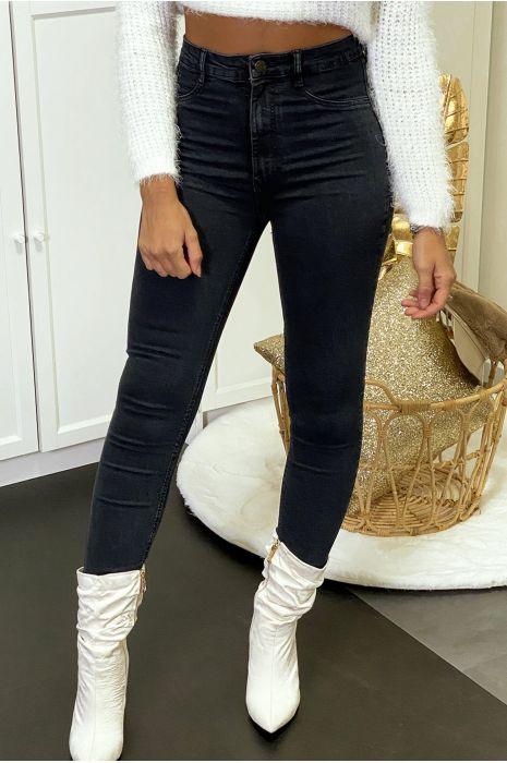 Pantalon jeans slim noir délavé avec poches arrières