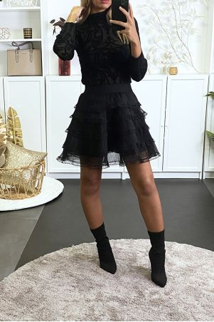 Black pleated ruffle skirt with lace