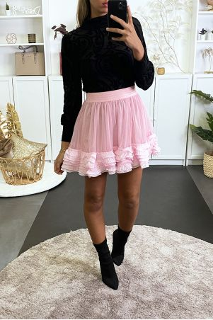 Pink tulle skirt with pleated flounce