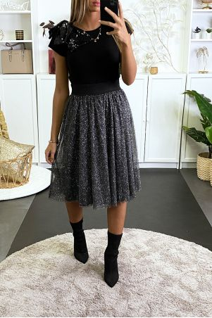 3/4 black glittery and lined skirt for parties