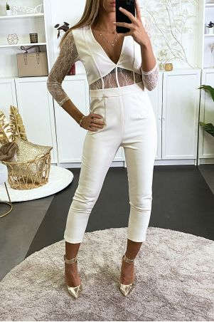 beige jumpsuit with lace sleeves and waist