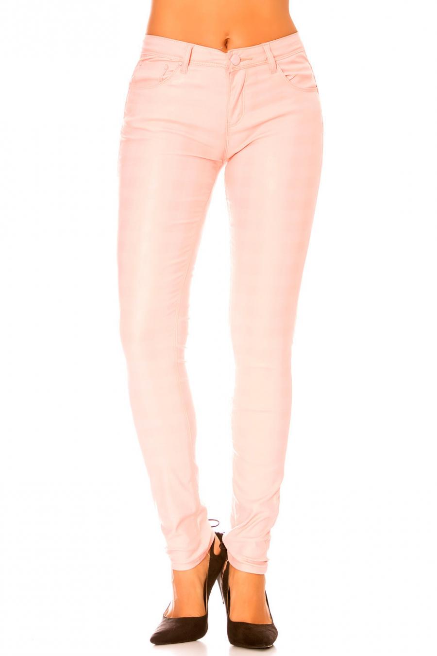 Glanzende roze broek met zakje en ruitpatroon. Mode broek s1799-2