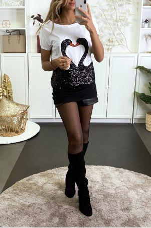 Long t-shirt blanc et noir avec dessin en strass