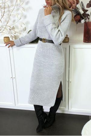 Lange dikke grijze sweaterjurk met split verkocht zonder riem