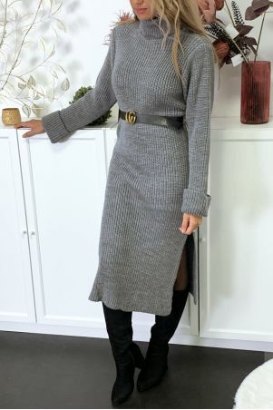 Lange antracietkleurige dikke sweaterjurk met split verkocht zonder riem