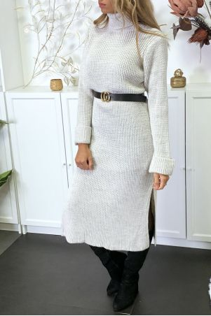 Long, very thick beige sweater dress with slit sold without the belt