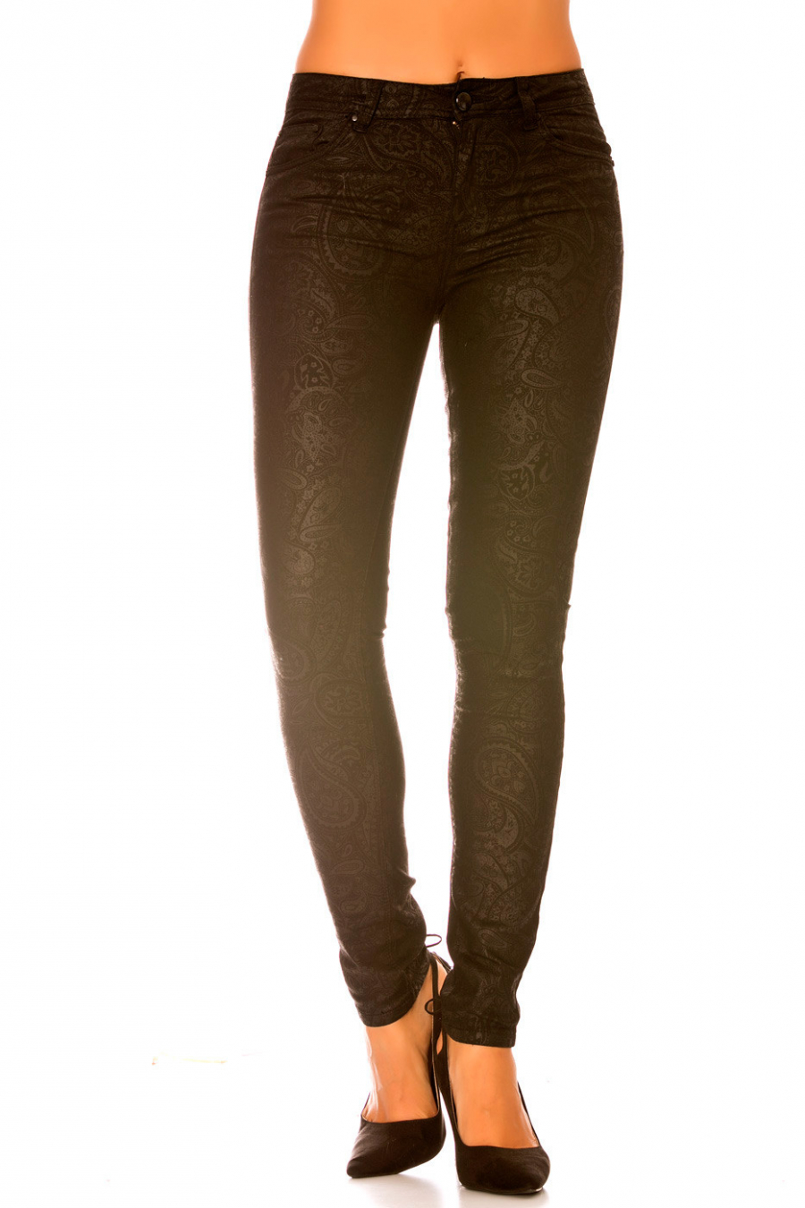 Pantalon fashion en noir avec motif noir. Pantalon femme fashion ptl s1865