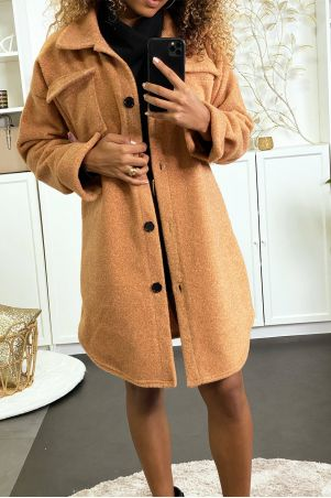 Long, thick camel overshirt with chest pockets