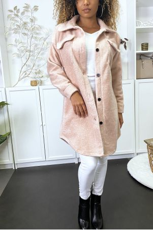 Long thick pink overshirt with bust pockets