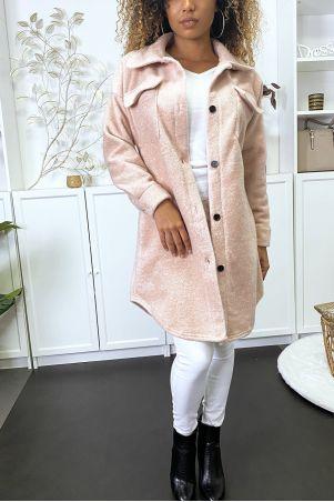 Longue sur-chemise rose bien épais avec poches au buste