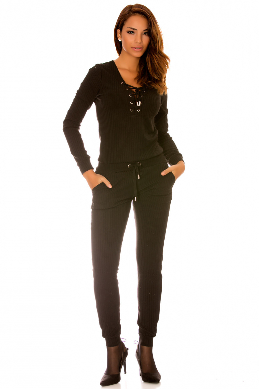 Fashionable black mesh jumpsuit with lace at the collar. Women's jumpsuit wj7115