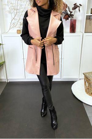 Veste rose sans manches avec poches et lacet à la taille