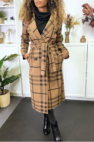 Long double breasted camel check jacket with belt and pockets
