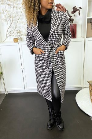 Long black and white coat with houndstooth pattern