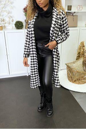 Lang zwart wit overhemd met pied-de-poule patroon