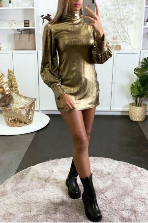 Glanzende gouden avondjurk met pofmouwen