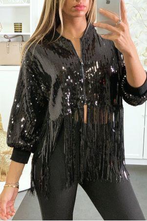 Veste pailleté en noir avec frange