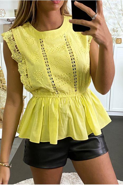 Top jaune à crochet et coupe péplum plissée