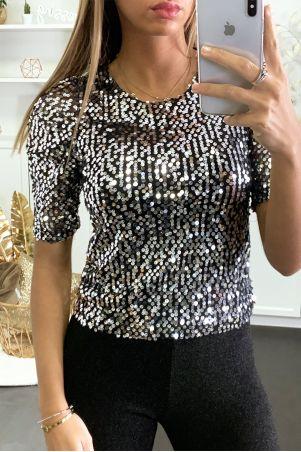T-shirt pailleté argenté avec manches bouffante