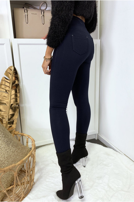Pantalon slim marine avec 5 poches