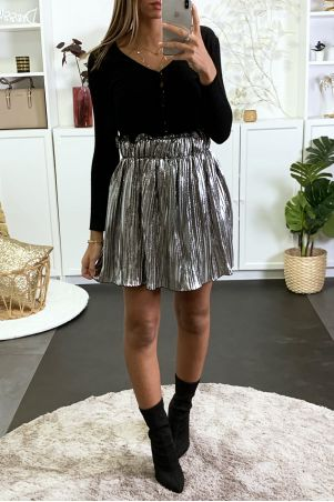 Mini jupe évasé plissé et argenté