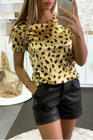 T-shirt en velours noir et blanc motif léopard