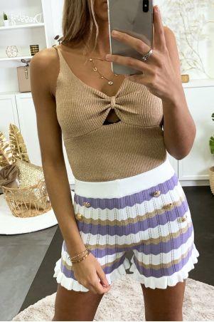 Short en tricot extensible avec bandes lila blanc et doré