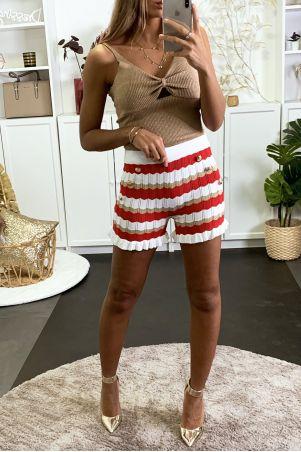 Short van stretchbreisel met rode, witte en gouden strepen