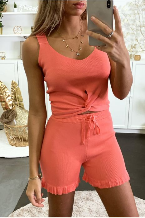 Taupe Stretch Knit Tank and Shorts Set
