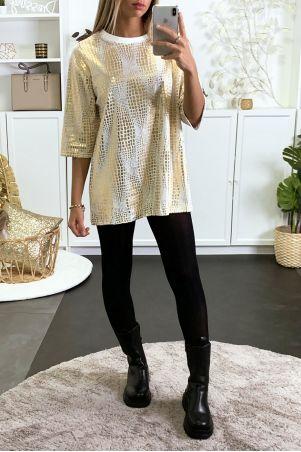 Tunique over size blanc et doré idéal pour fête
