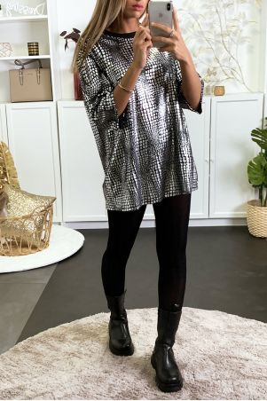 Black and silver oversized tunic ideal for party
