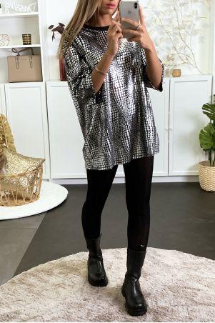 Tunique over size noir et argenté idéal pour fête