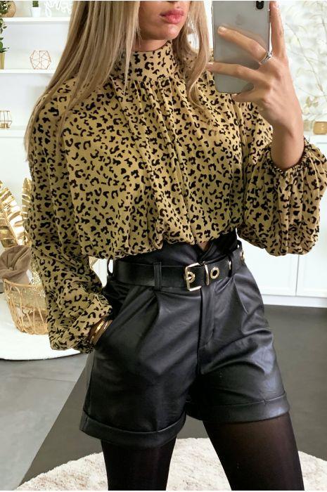 Cognac luipaard print blouse gevoerd met elastiek in de taille