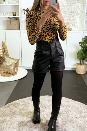 Body en résille moutarde brillant avec motif léopard en velours