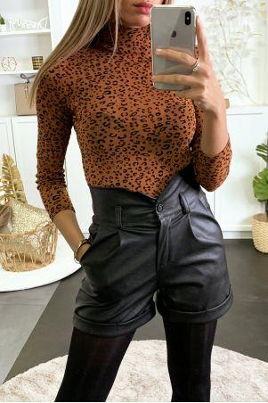 Body en résille cognac brillant avec motif léopard en velours