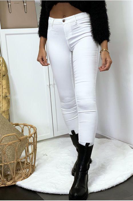 Jeans slim blanc avec poches arrière