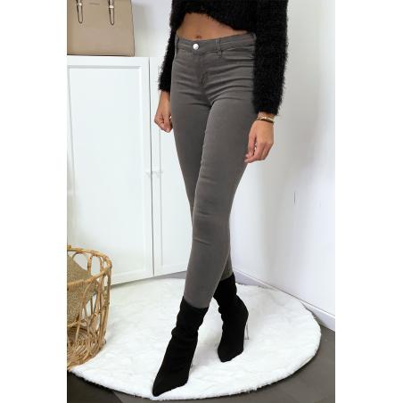 Jeans slim gris avec poches arrière