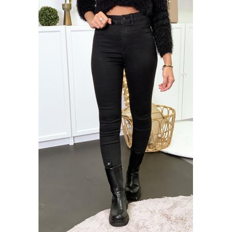 Jeans slim noir avec poches arrière