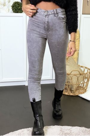 Gray jeans in high waist stretch with pockets
